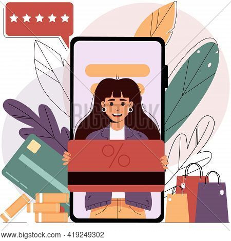 Girl on the smartphone screen holds a discount card in her hands. Mobile shopping from a smartphone.Online shopping concept, sale. Isolated vector illustration in flat style.EPS 10
