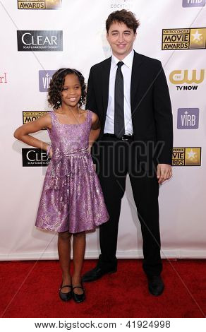 LOS ANGELES - JAN 10:  Quvenzhane Wallis & Ben Zeitlin arrives to the