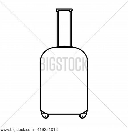 Black And White Travel Suitcases Isolated On White Background. Vector Illustration