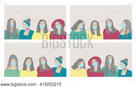 Beautiful Hand Drawn Set Character Women Face Mask Drawn On White Background. Coronavirus Epidemic P