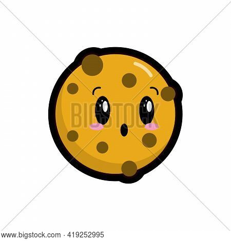 Cute, Comic Kawaii Cookie, Emotional Character In Cartoon Style Isolated On White Background. Desser