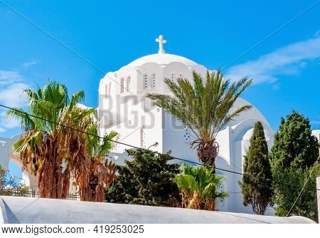 Orthodox Metropolitan Cathedral Of Thira Dome, Santorini Island, Greece