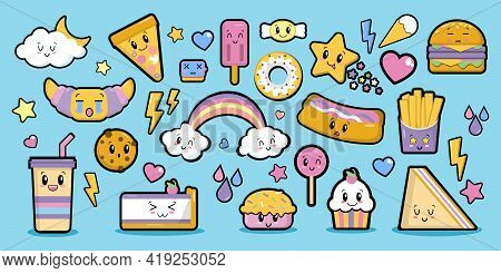 Fashion Patch Badges Sweets With Eyes In Kawaii Style Elements On Blue Background, Flat Style Object