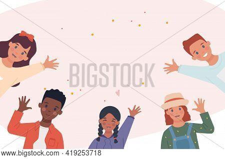 Set With Multiethnic Children Raising Their Hands In Greeting