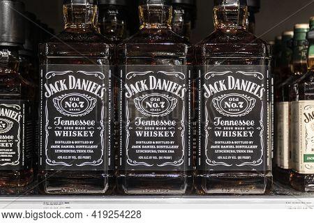 Indianapolis - Circa April 2021: Jack Daniel's Whiskey Display. Jack Daniel's Old No. 7 Whiskey Is O