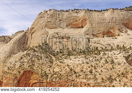 Sculpted White Sandstone On A Sunny Day From Angels Landing In Zion National Park In Utah