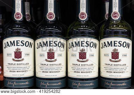 Indianapolis - Circa April 2021: Jameson Irish Whiskey Display. Jameson Irish Whiskey Is One Of The
