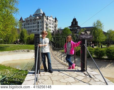 Stanisici, Bijelina, Bosnia And Herzegovina April 25 2021 A Boy 8 Years Old And Girl 7 Years Old, Br