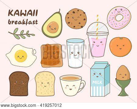 Set Of Cute Breakfast Food Icons In Kawaii Style. Healthy Breakfast Meal Ingredients.