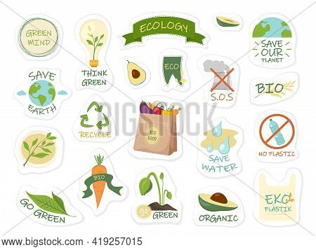 Collection Of Ecology Stickers With Slogans Save Earth, Go Green, Eco, Save Water.eco Friendly Lifes
