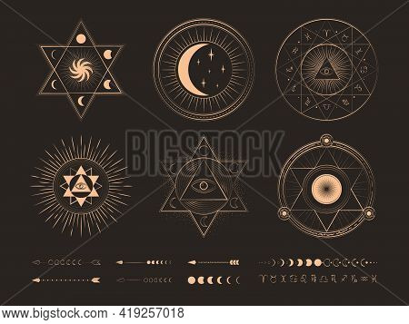 Witch Magic, Mystical And Astrology Objects Symbols. Golden Mystery, Witchcraft, Occult, Alchemy, My