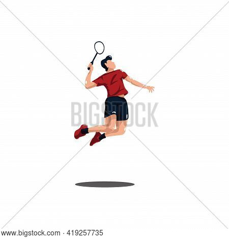Men Badminton Player Jumping Smash At Court - Sport Men Are Playing Badminton Attack With Jumping Sm