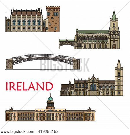 Ireland Travel Landmarks, Architecture Buildings Of Dublin, Vector Sightseeing. Irish Castle In Dubl