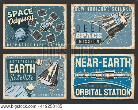 Outer Space And Galaxy Research Vector Retro Posters. Satellites And Near Earth Orbital Station In U