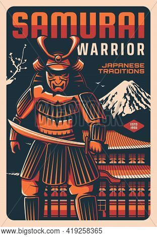 Samurai With Sword Vector Design With Ancient Warrior Of Japan. Retro Poster Of Japanese Soldier Wit