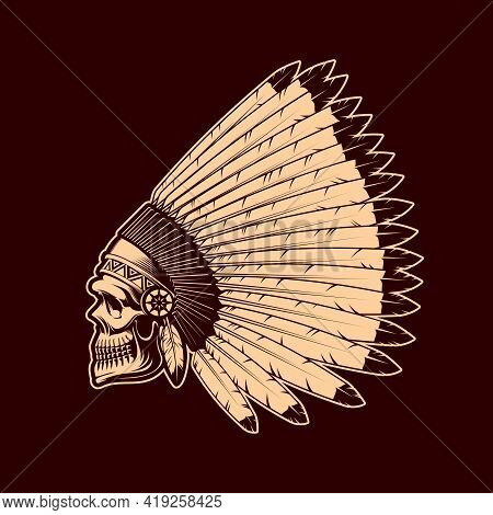Indian Skull Vector Sketch With Native American Chief Feather Headdress. Hand Drawn Human Skeleton H