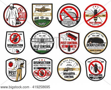 Pest Control Isolated Icons With Vector Pest Bugs And Insects, Insecticide And Exterminator, Cockroa