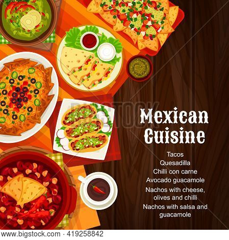 Mexican Cuisine Menu Cover, Mexico Food Dishes, Lunch And Dinner Meals, Vector. Mexican Traditional