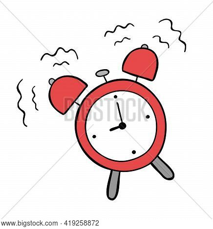 Cartoon Vector Illustration Of Alarm Clock Ringing. Colored And Black Outlines.
