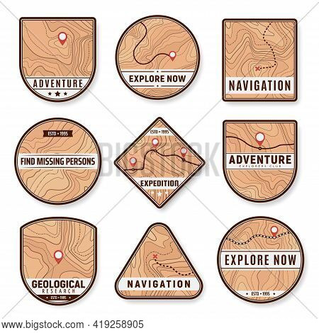 Topography Icons For Navigation, Geology And Travel With Location Points On Vector Map. Topographic