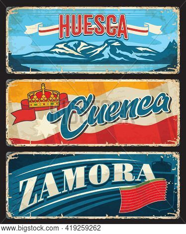 Huesca, Cuenca And Zamora Province Of Spain Vector Plates. Spanish Aragon, Castile La Mancha And Cas