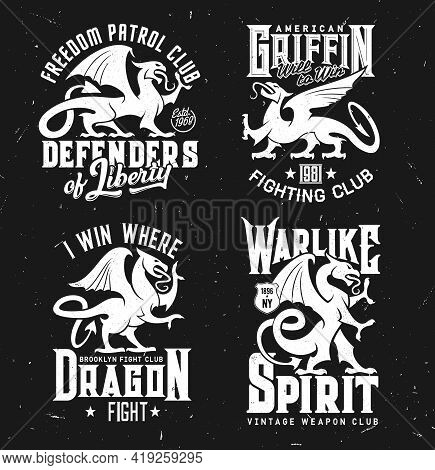 T-shirt Prints Of Heraldic Griffins, Vector Mascot Of Fighting Club. Mythical Animals Silhouettes An