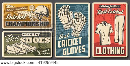 Cricket Equipment And Uniform. Vector Cricket Sports Game Ball, Bat And Player Uniform Clothing Helm