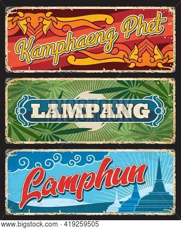 Kamphaeng Phet, Lampang And Lamphun Thailand Province Vector Plates. Thai District Or Changwat Old T
