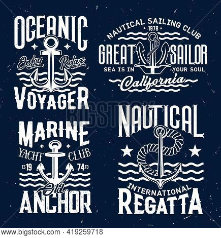 Ship Anchor T-shirt Print Vector Templates. Admiralty Or Fisherman, Stockless Anchor And Retro Typog