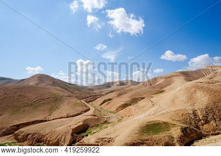 Judaean desert landscape near Jerusalem, Israel.