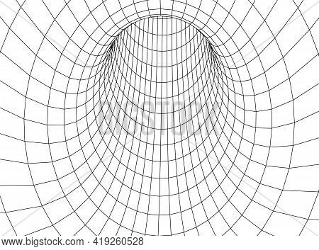 Tunnel Or Wormhole. Digital 3d Wireframe Tunnel. 3d Tunnel Grid. Network Cyber Technology. Surrealis