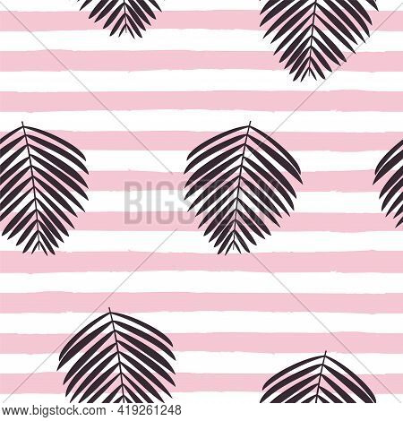 Palm Leaves Vector Seamless Pattern Lush Foliage On Two Tone Striped Background