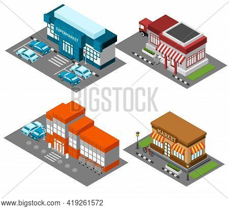 Vintage Market Store Street View With Modern Supermarket Shopping Mall Isometric Icons Set Abstract