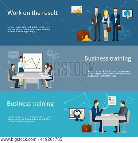 Business Coaching And Personnel Training As  Effective Management Strategy  Flat Banners Set Poster