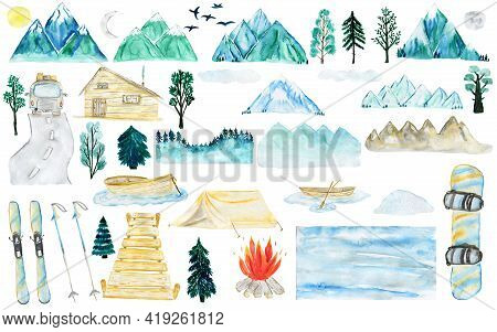 Watercolor Mountains. Clipart With Mountains, Boat, Sun, Moon, Birds, Trees, Spruce, Fir, Oak, Car,