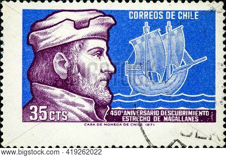 Chile - Circa 1971: A Stamp Printed In Chile Shows Captain Ferdinand Magellan (1480-1501) And His Sh