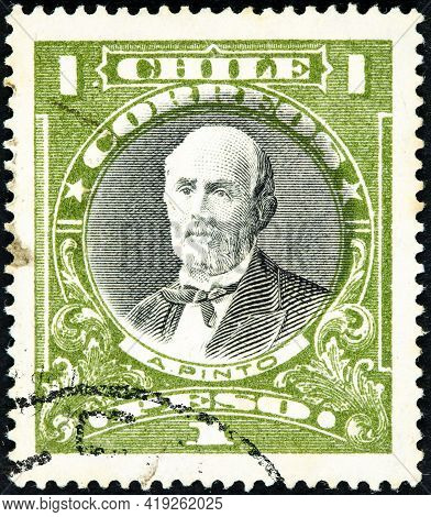 Chile - Circa 1911: A Stamp Printed In The Chile Shows Anibal Pinto, 9th President Of Chile, 1876 -
