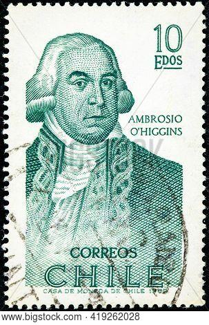 Chile - Circa 1969: Stamp Printed By Chile, Shows Portrait Of Ambrosio Bernardo O'higgins, 1st Marqu
