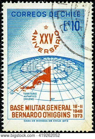 Chile - Circa 1973: Canceled Postage Stamp Printed By Chile, Shows The Location Of O'higgins Militar