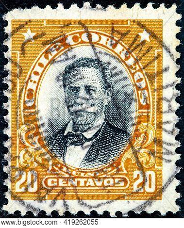 Chile - Circa 1911: A Stamp Printed In The Chile Shows Manuel Bulnes Prieto, 5th President Of Chile,