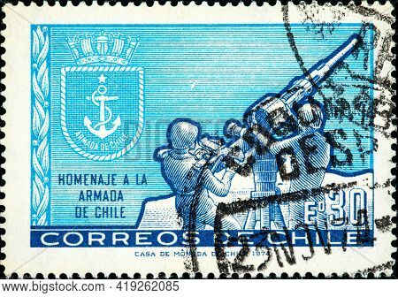 Chile-circa 1974:a Stamp Printed In Chile Shows Image Of The Chilean Navy (armada De Chile) Is The N