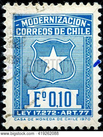 Chile - Circa 1970: A Stamp Printed In Chile Shows Coat Of Chile, By Law 17272 Article 77 Of The Mod