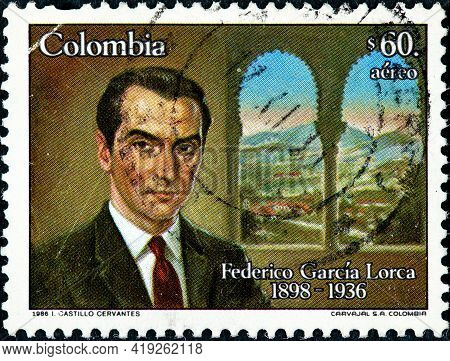 Colombia - Circa 1986: A Stamp Printed In Colombia Showing The Universal Poet Federico Garcia Lorca