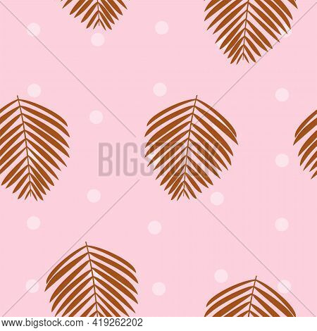 Palm Leaves Vector Seamless Pattern Lush Tropical Foliage On Light Pink Background With White Polka