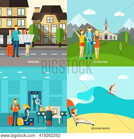 Travelling Sightseeing Attraction And Relaxing On The Beach 4 Flat Icons Square Composition Abstract
