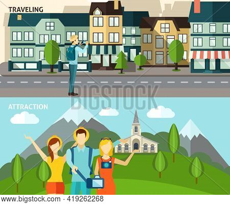 Urban Tourists Attractions And Historical Sightseeing Country Travelling Two Flat  Horizontal Banner