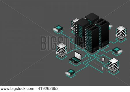 Concept Of Data Network Management .vector Isometric Map With Business Networking Servers Computers
