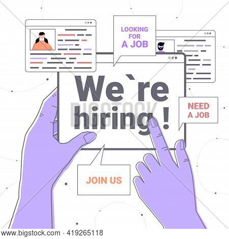 Hr Manager Hand Holding We Are Hiring Join Us Web Browser Window Vacancy Open Need A Job Recruitment
