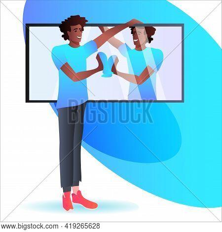 African American Man Cleaning Mirror Guy In Bathroom Doing Housework Housekeeping Concept