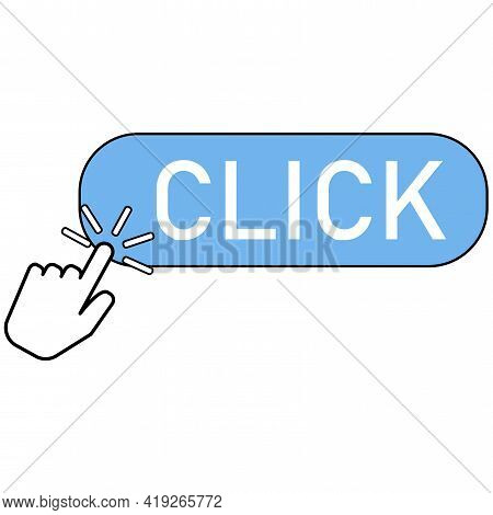 Flat Icon With Blue Click Bar. Button Hand Pointer Clicking. Click Here Web Button Sign. Clicking Fi
